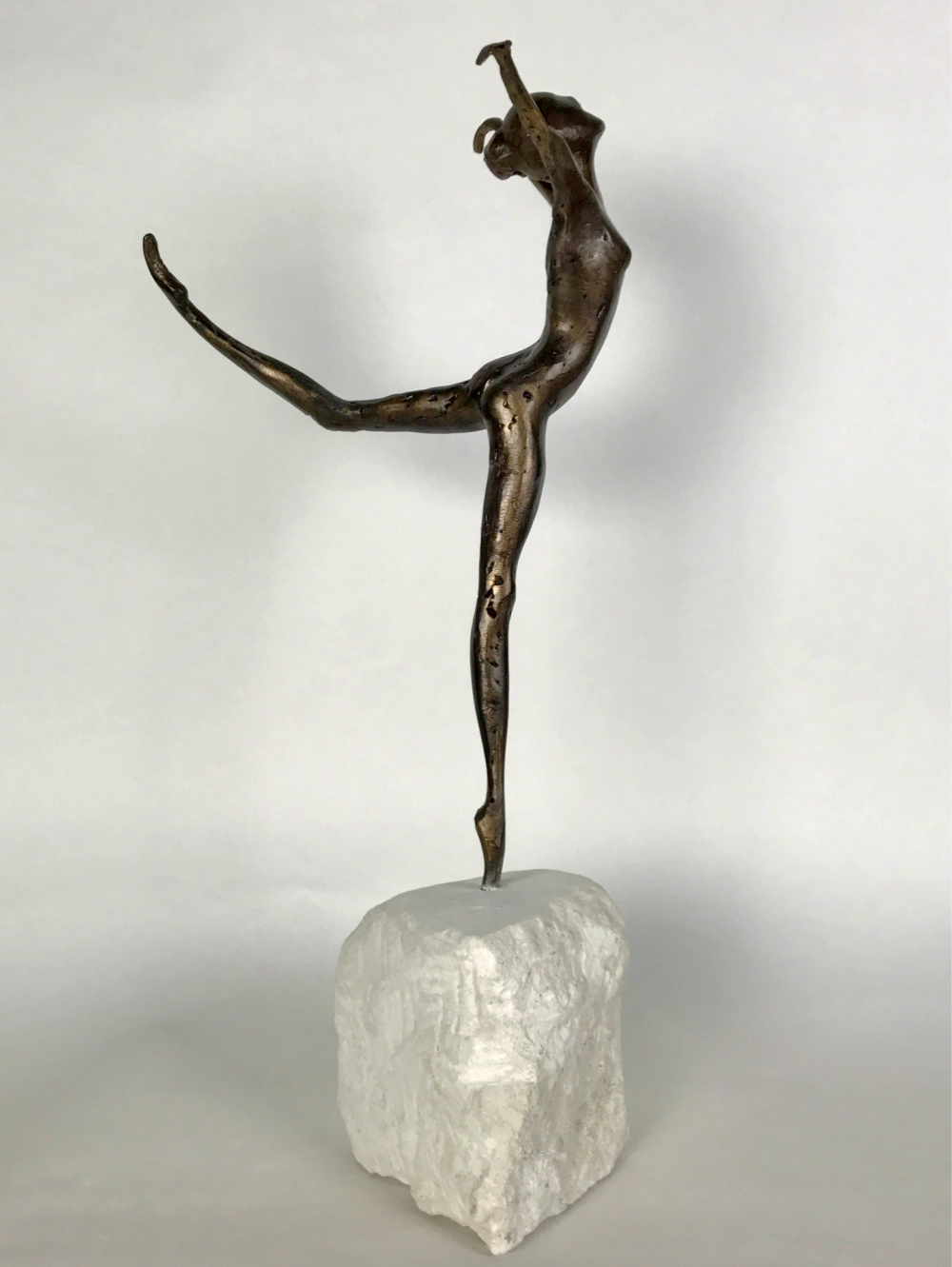 Bronze Coryphee Sculpture Tip Toed On Marble Plinth