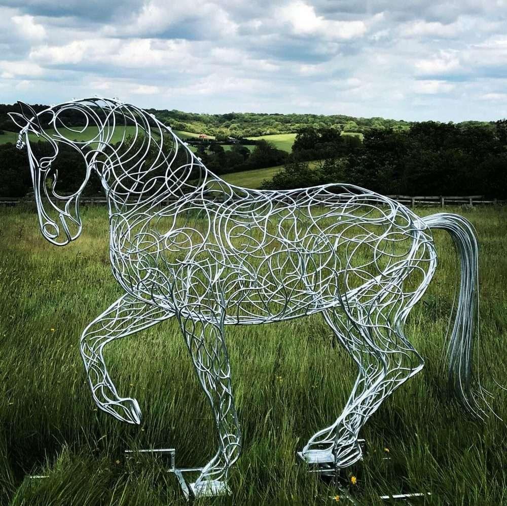 Horse Trotting Sculpture
