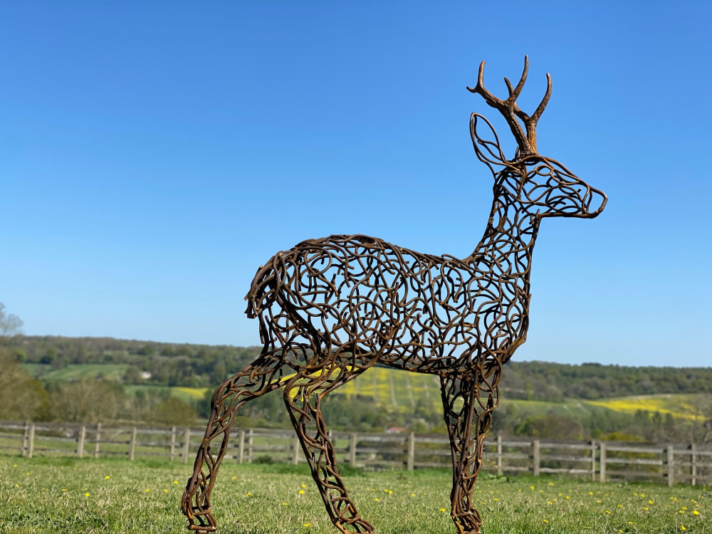 Stag Sculpture On A Sunny Day