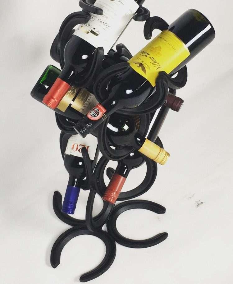 Black Horseshoe Wine Bottle Holder