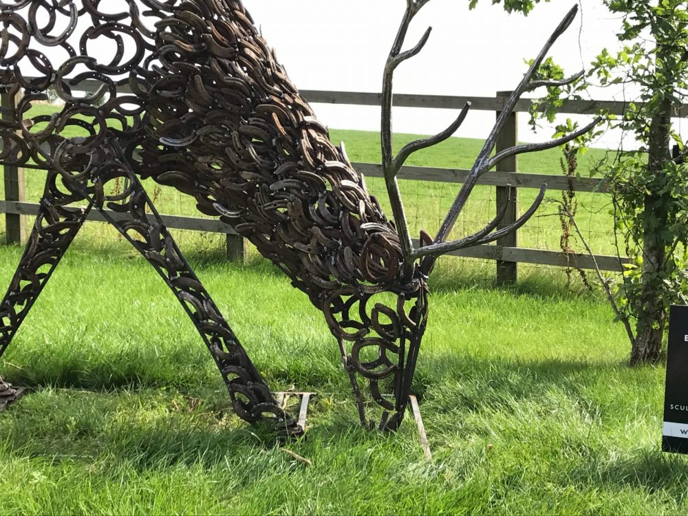 Horseshoe Stag With Antlers Sculpture