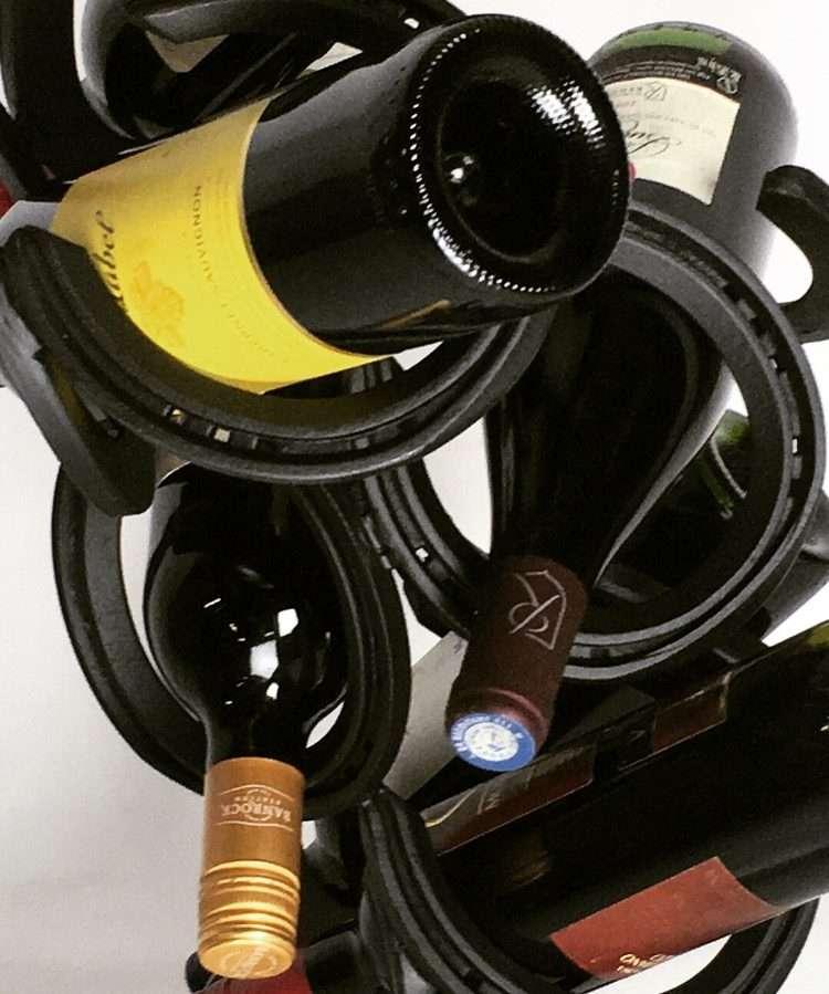 Upcycled Horseshoe Wine Bottle Holder