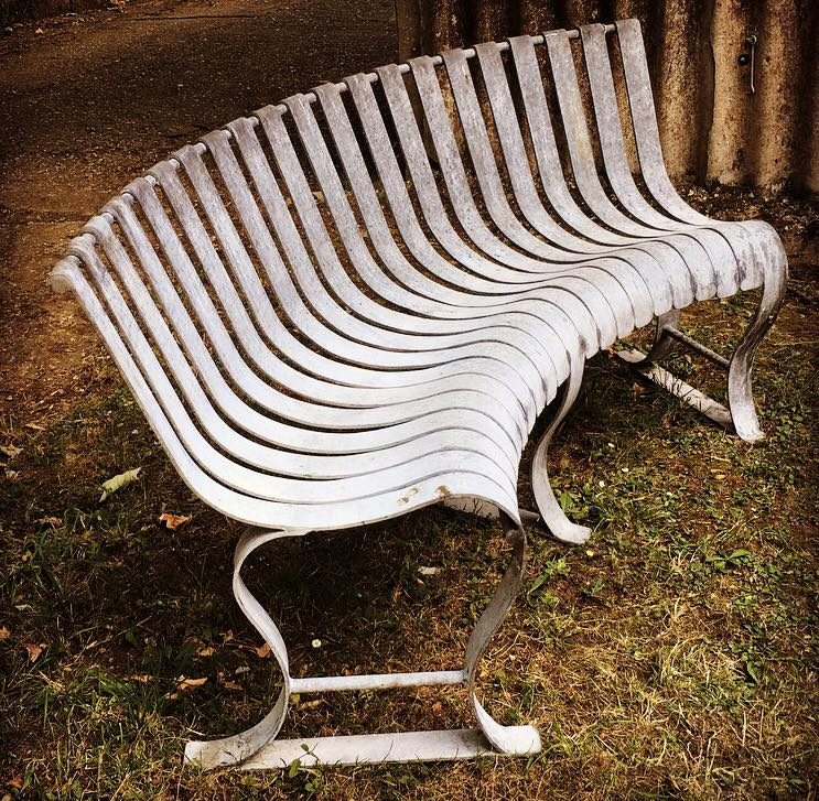 Silver Curved Bench