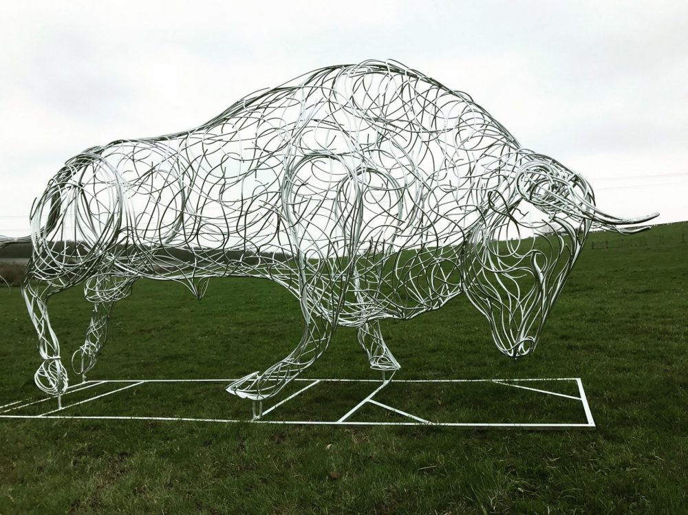 Bull Charging Sculpture
