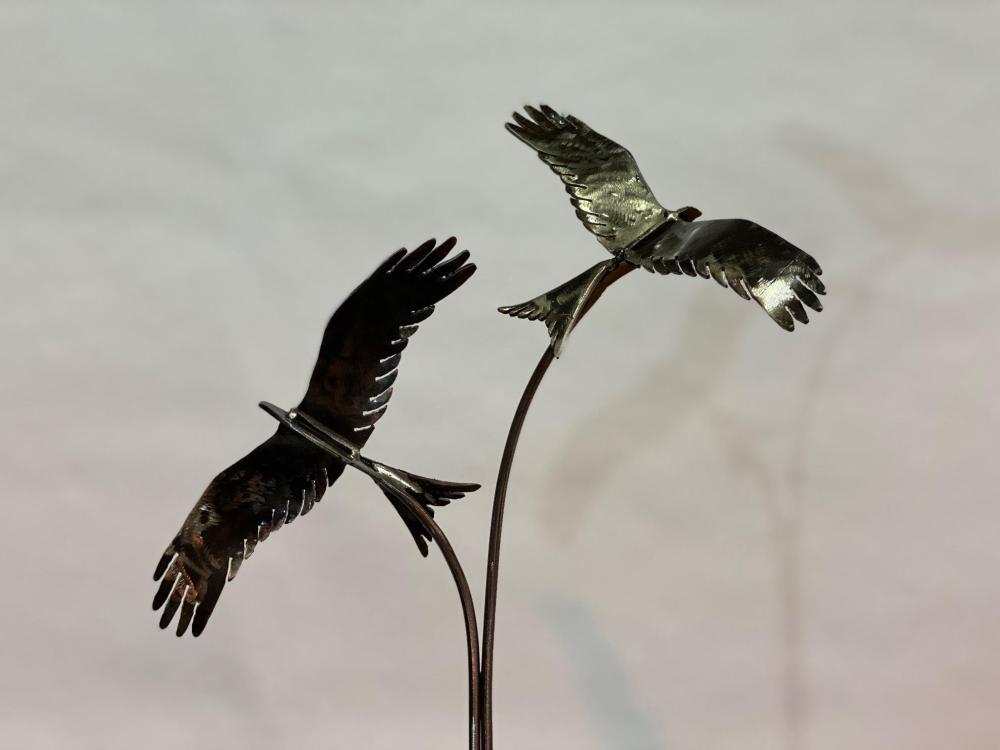 Black Rustic Two Birds Sculpture