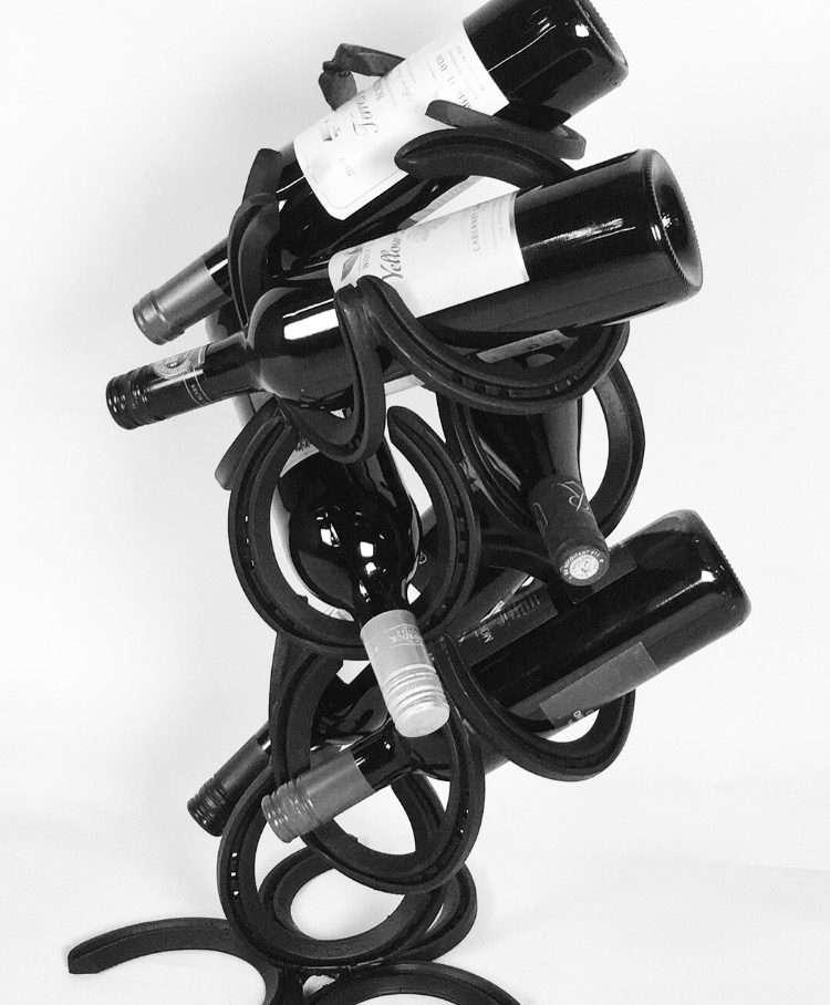 Rustic Horseshoe Wine Bottle Holder
