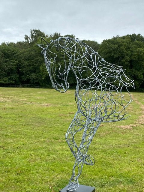 Silver Half Horse Sculpture