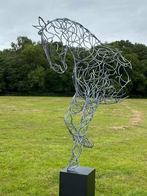Large Silver Horse Sculpture