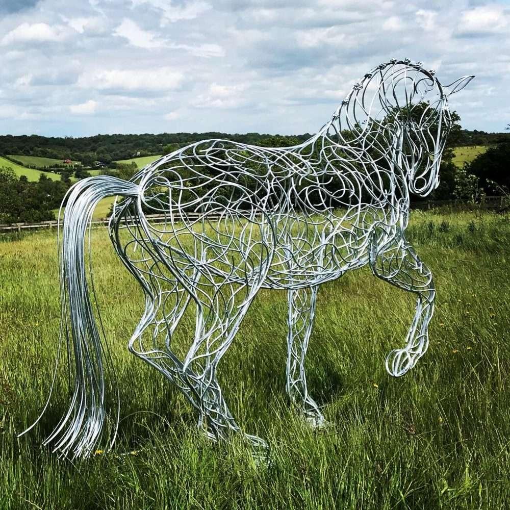 Back of Horse Trotting Sculpture