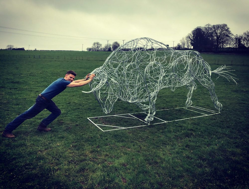 Man Holding On To Bull Sculpture