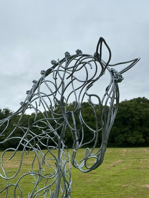 head of half horse sculpture
