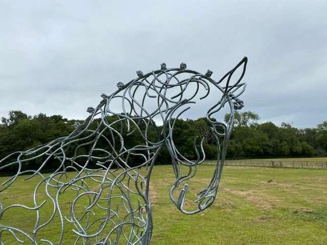 silver galvanised half horse sculpture