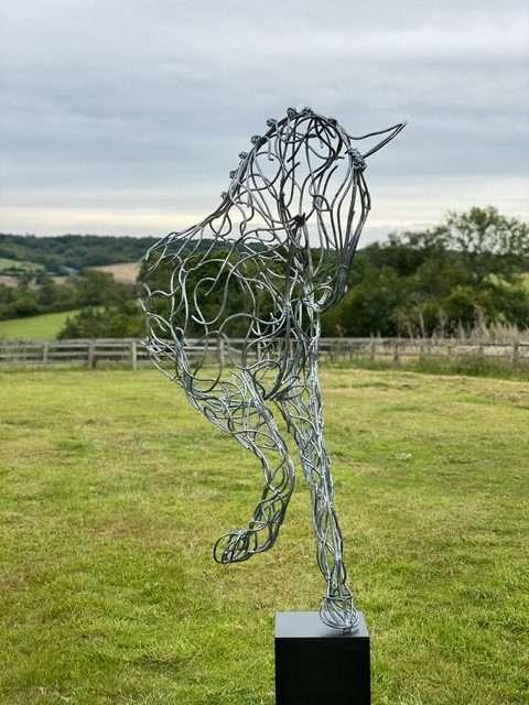 large silver galvanised half horse design