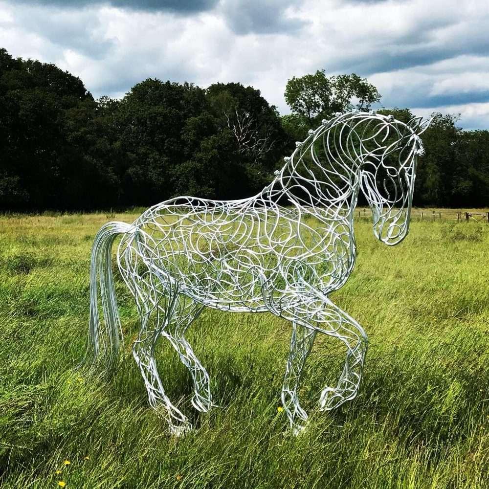 Large Horse Trotting Sculpture