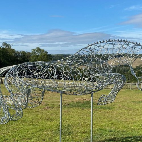 Large Silver Jumping Horse