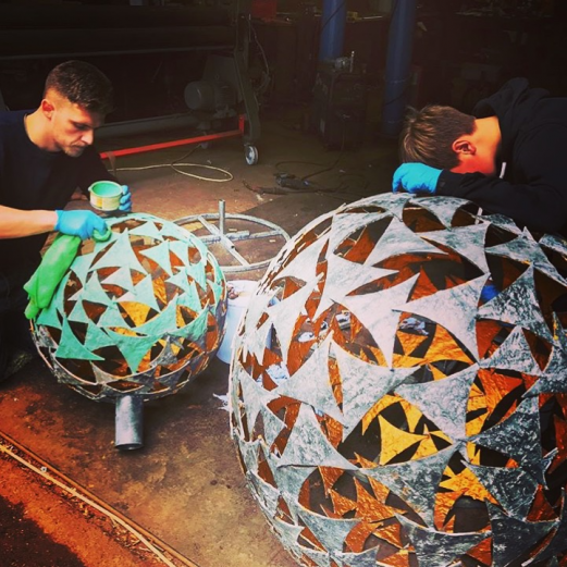 Verdigris & Gold Sphere Sculpture