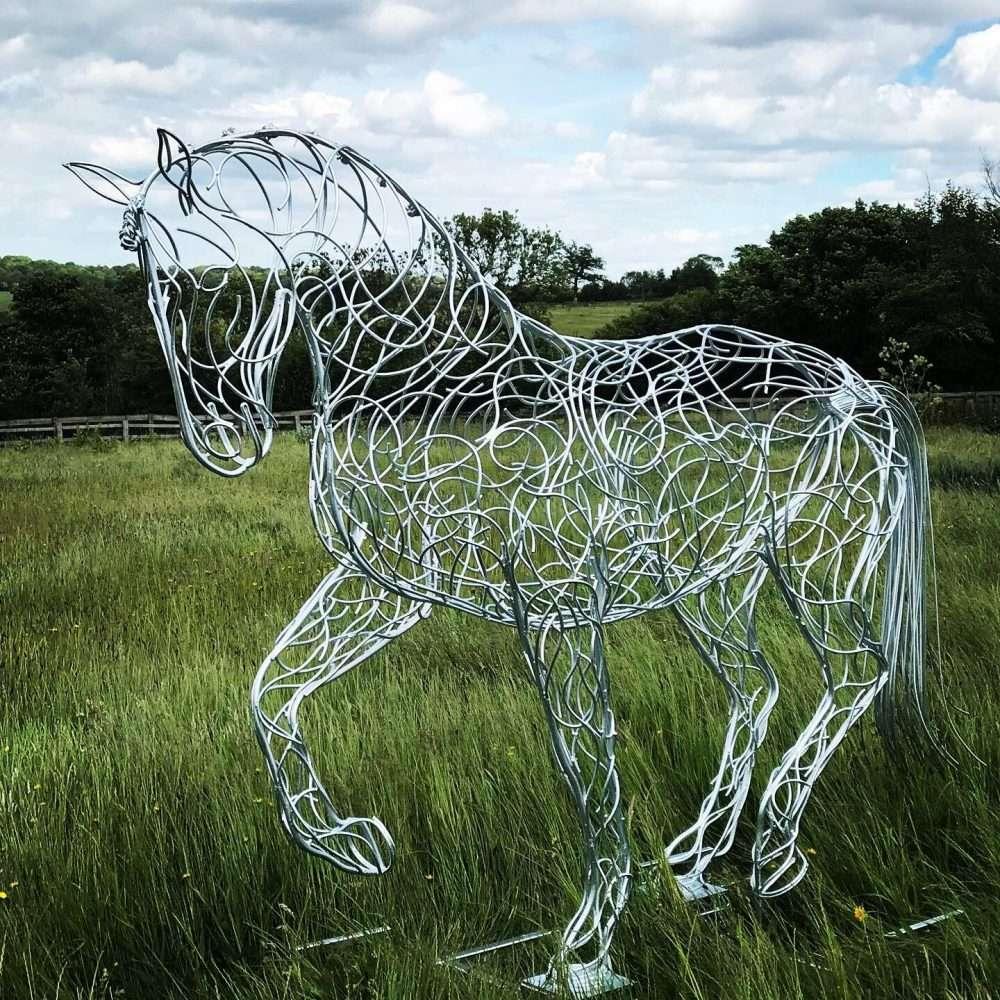 Horse Trotting Sculpture Silver Galvanised