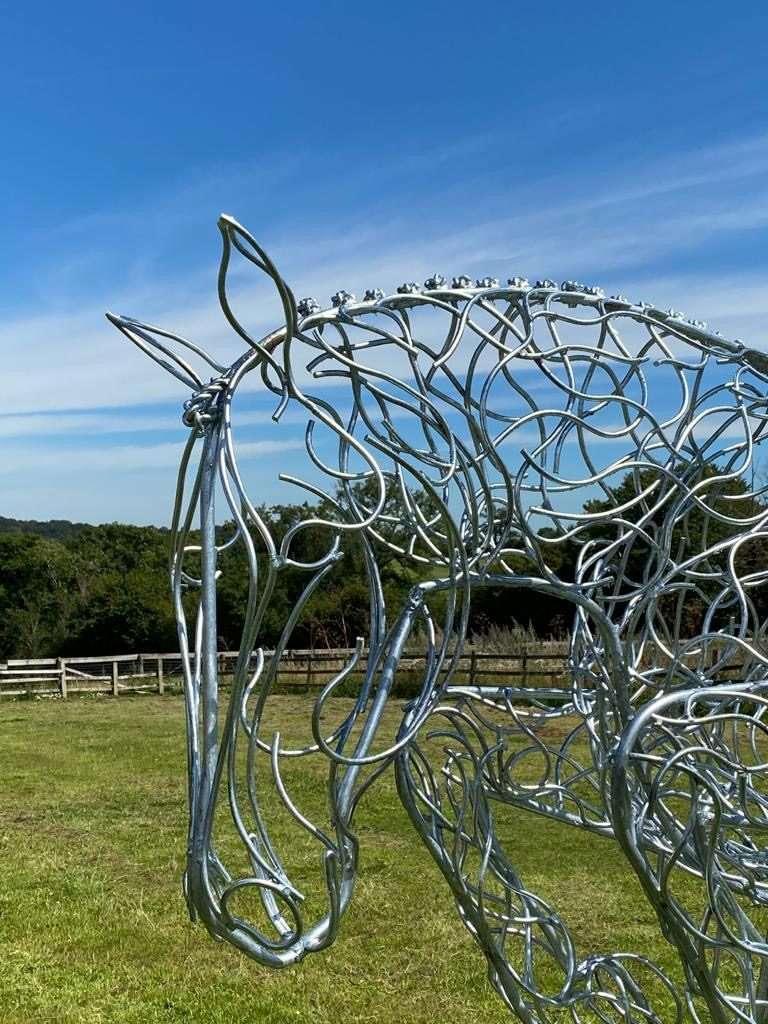 Jumping Horse Silver Sculpture Portrait View