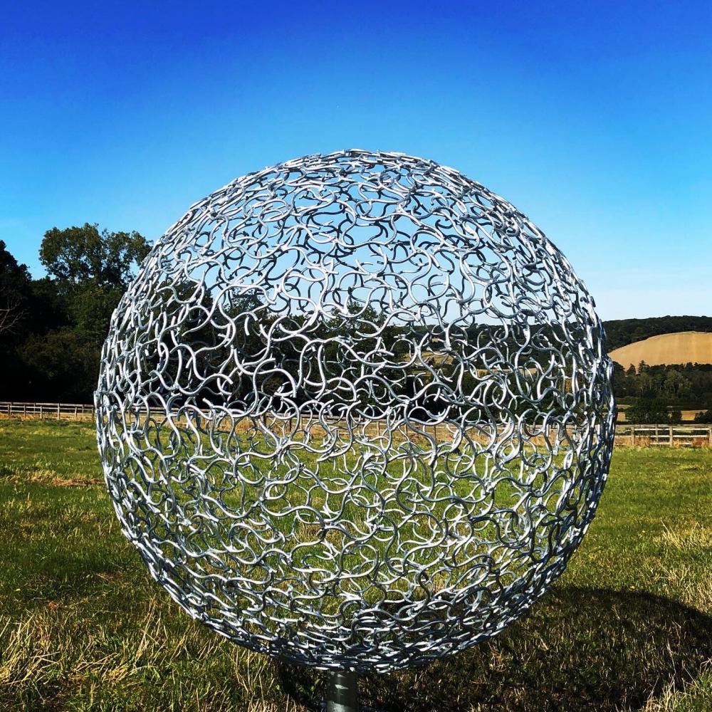 Organic Galvanised Sphere sculpture