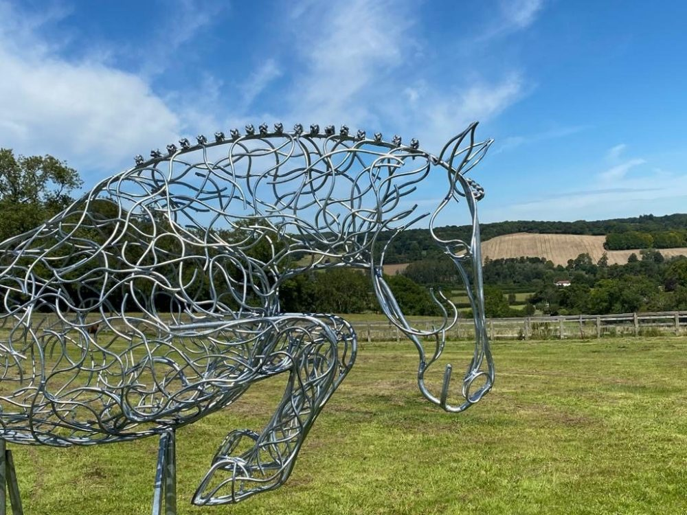 Jumping Horse Large Silver Galvanised Sculpture