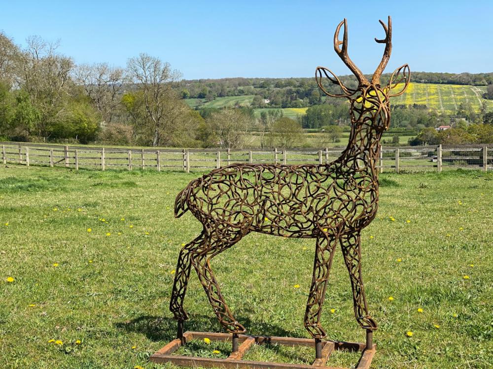 Rustic Bronze Stag Sculpture