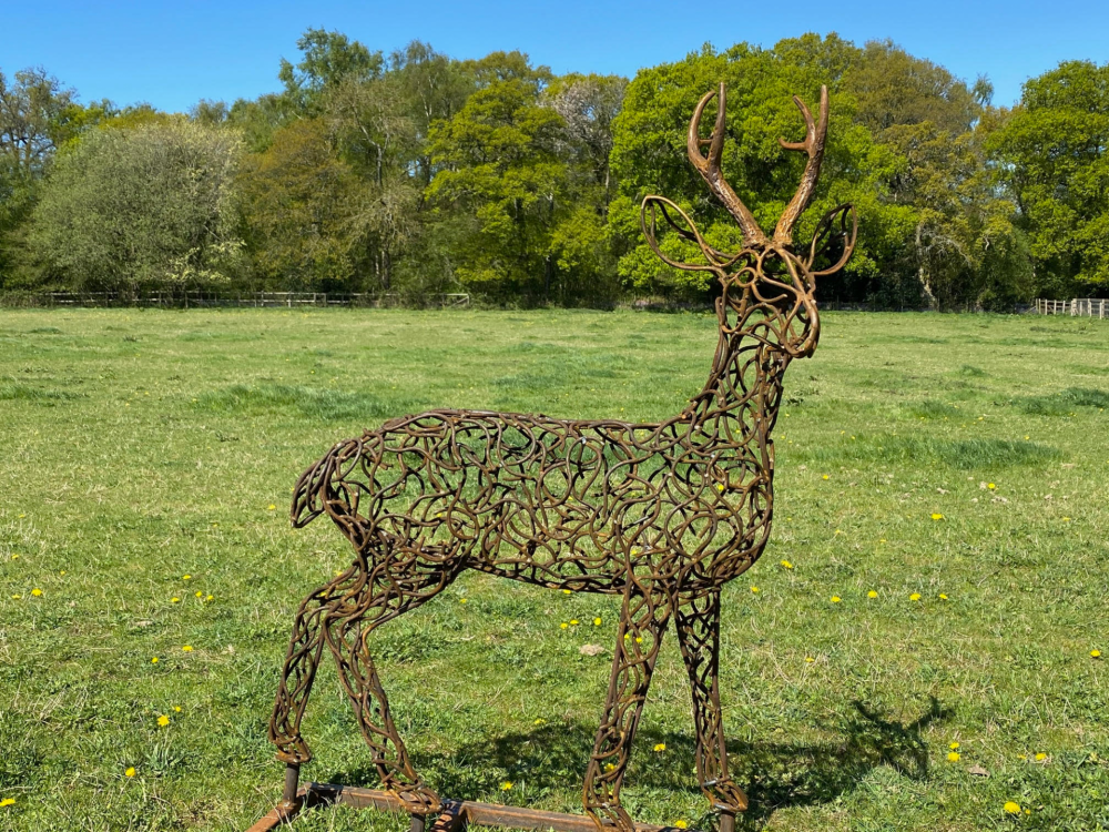 Stag With Antlers Sculpture
