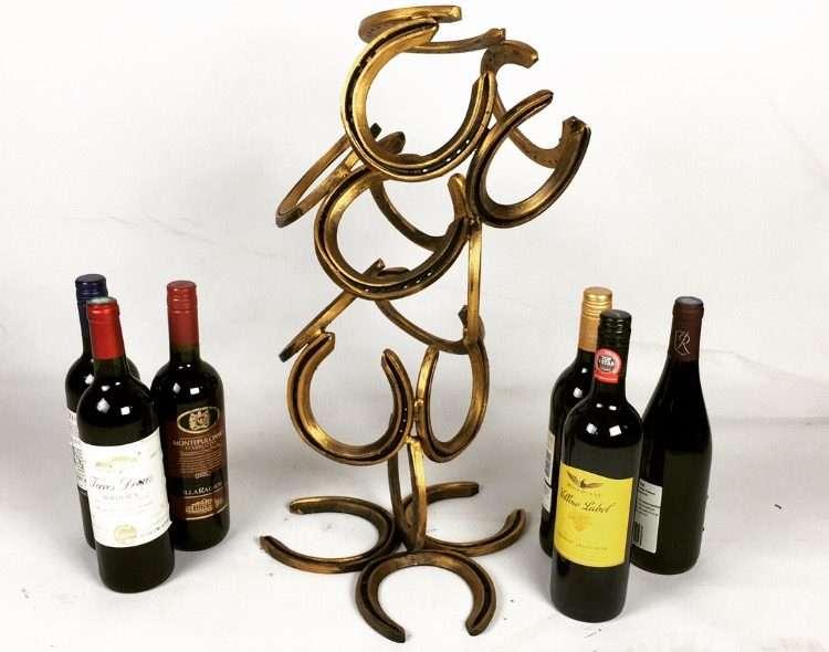 Gold Horseshoe Wine Bottle Holder With Wine