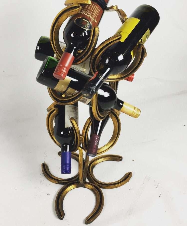 Rustic Gold Horseshoe Wine Bottle Holder With Wine