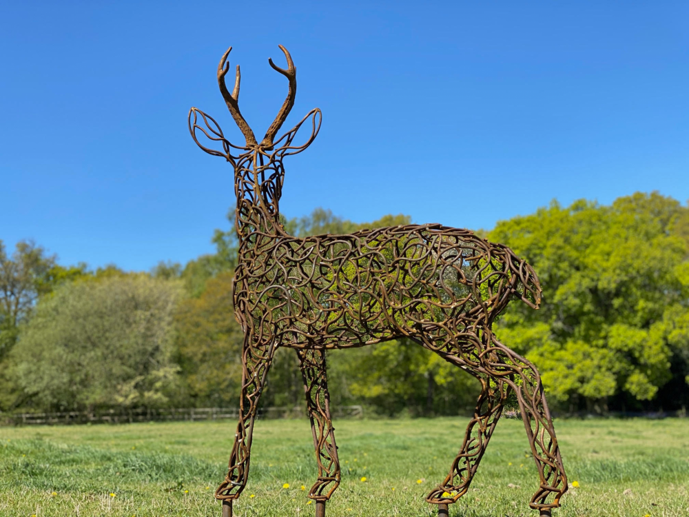 Small Rustic Stag Sculpture
