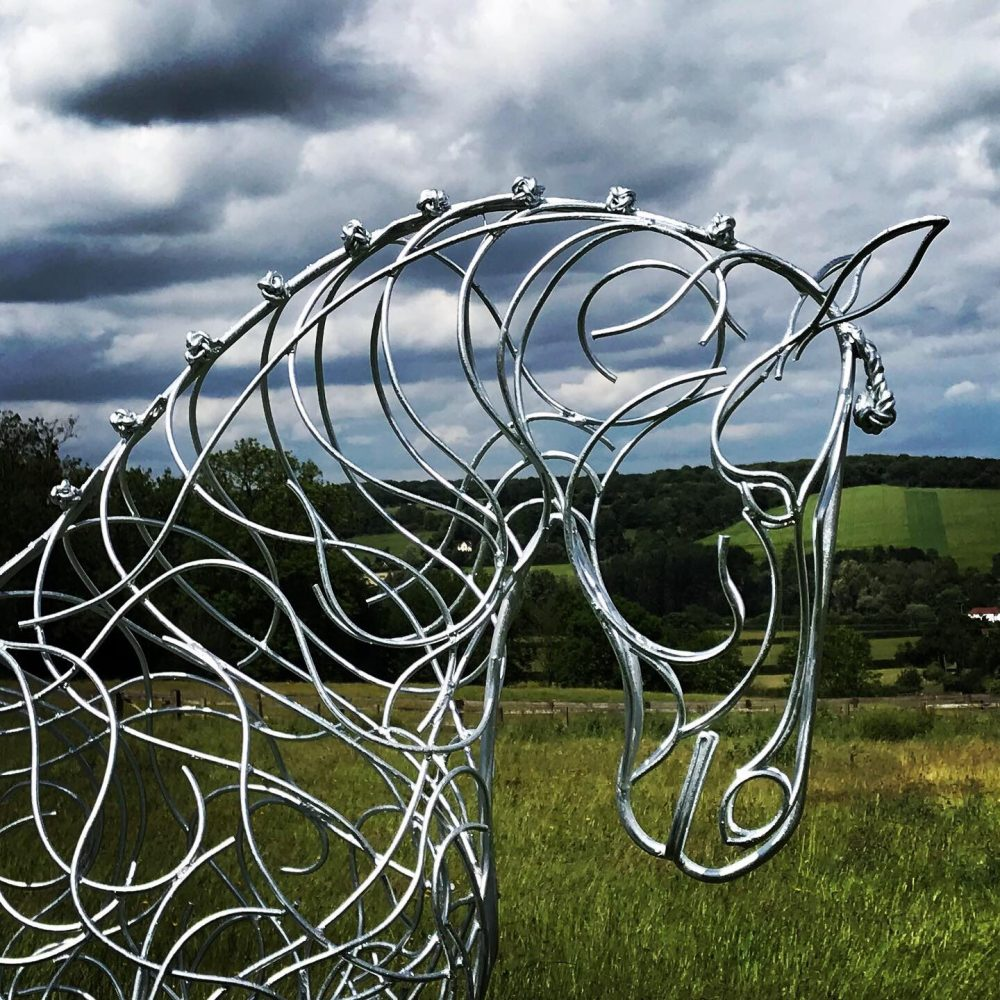 Face Of Horse Trotting Sculpture