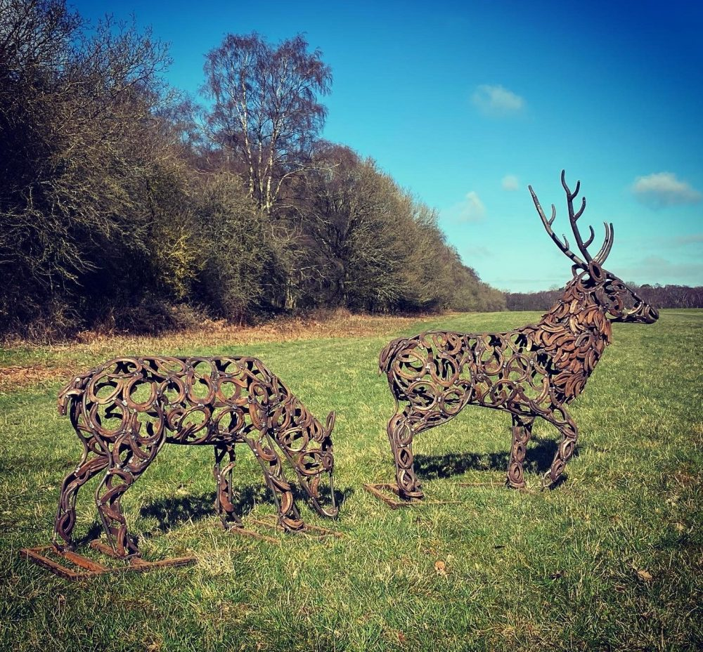 Small Stag And Doe Sculptures