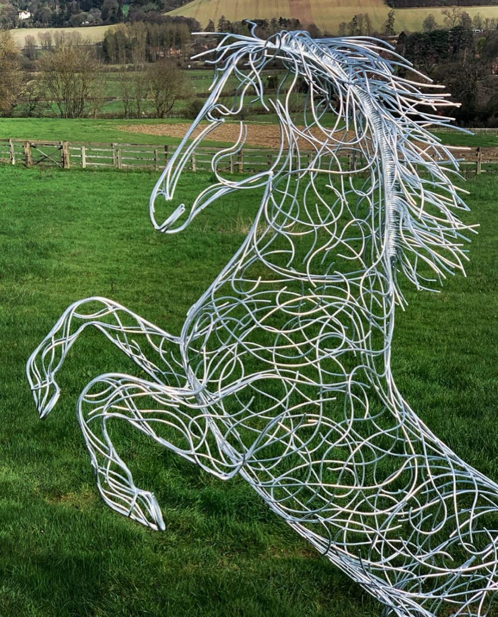 Large Silver Galvanised Rearing Horse Sculpture