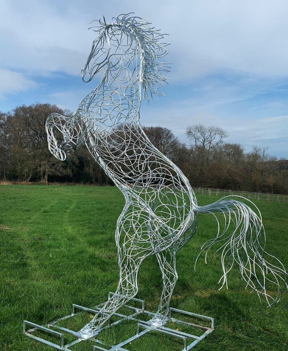 Large Silver Rearing Horse Sculpture