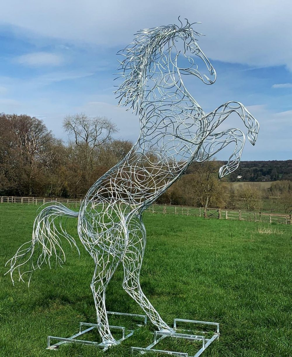 Rearing Horse Sculpture On A Sunny Day