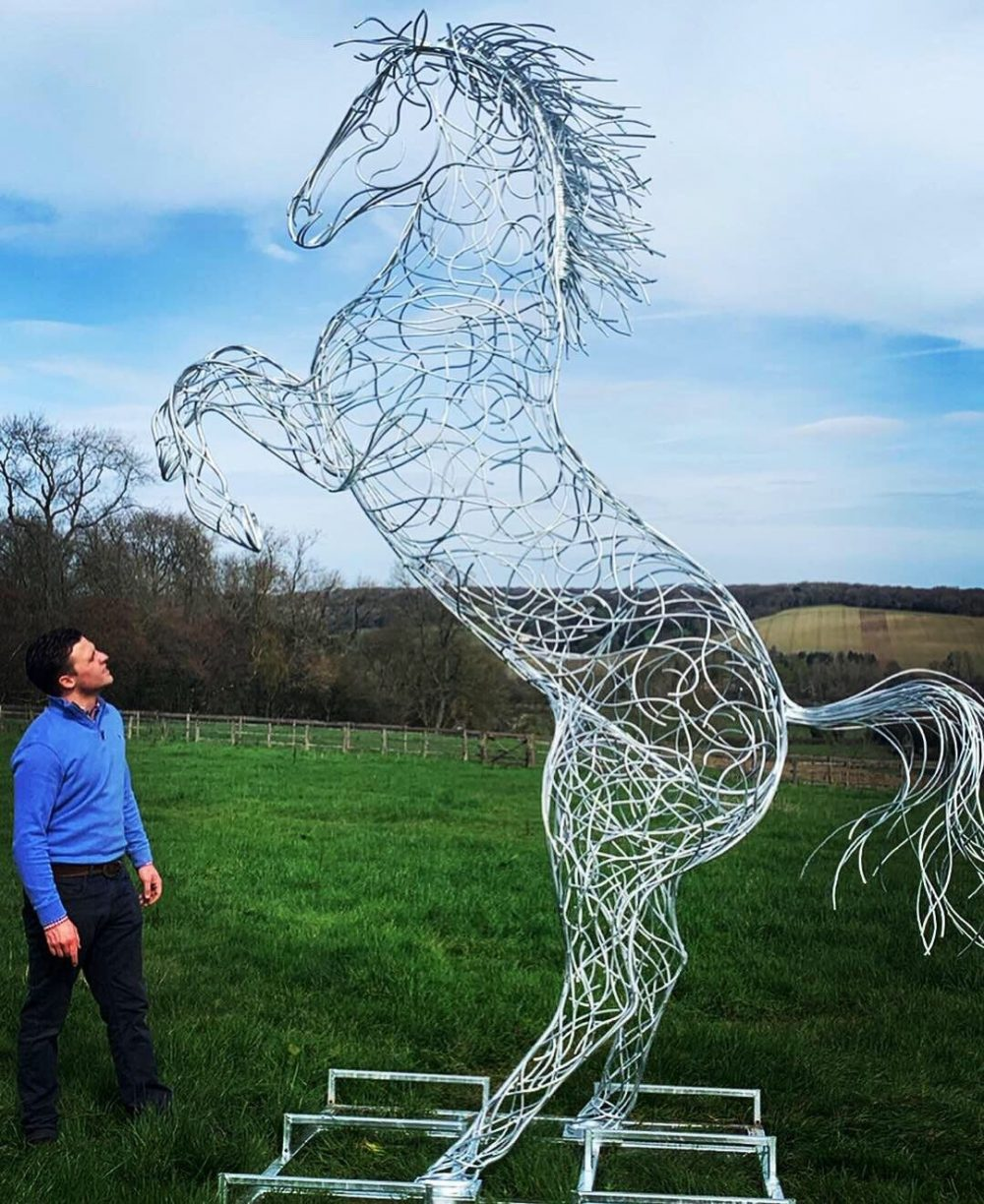 Galvanised Silver Rearing Horse Sculpture