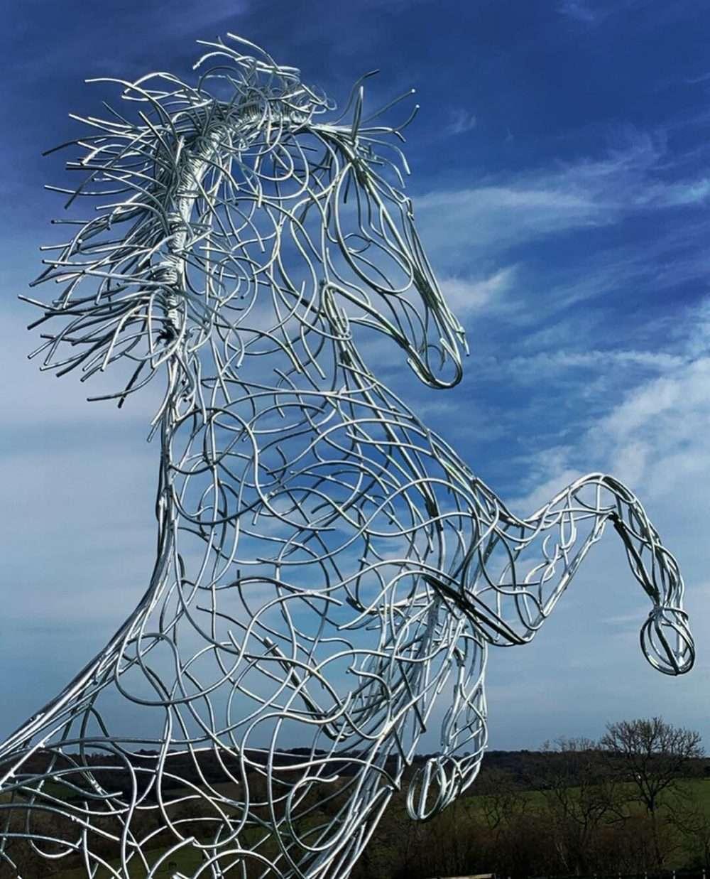 Silver Rearing Horse Sculpture