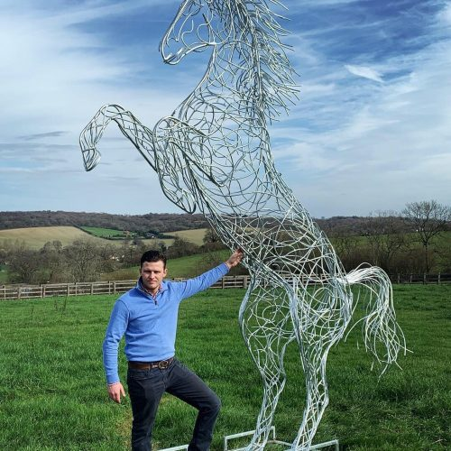 Rearing Horse Sculpture In Large Field