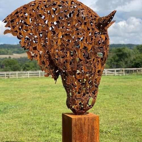 Portrait Of Rustic Patina Horse Head