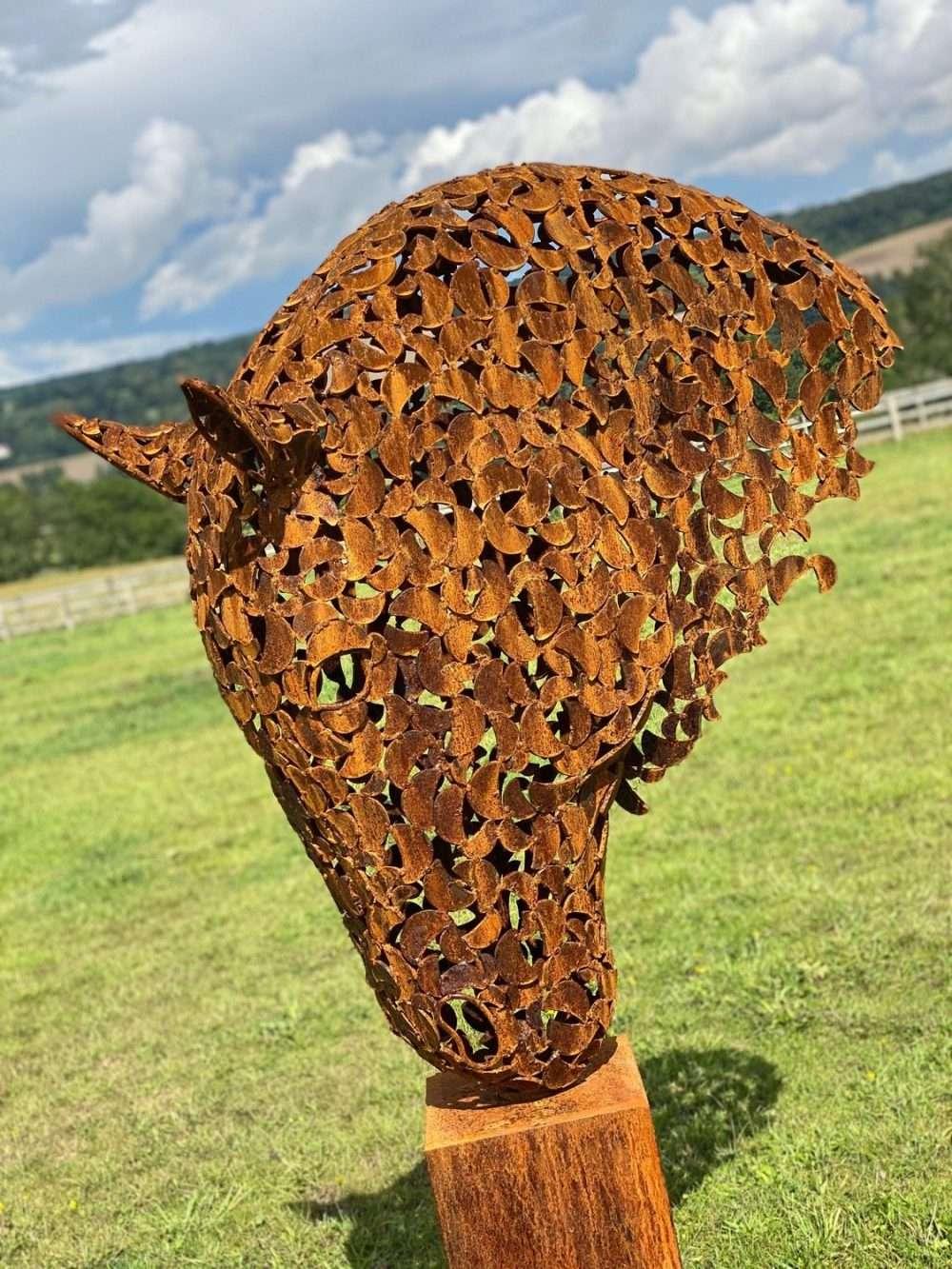Portrait View Of Rustic Patina Horse Head