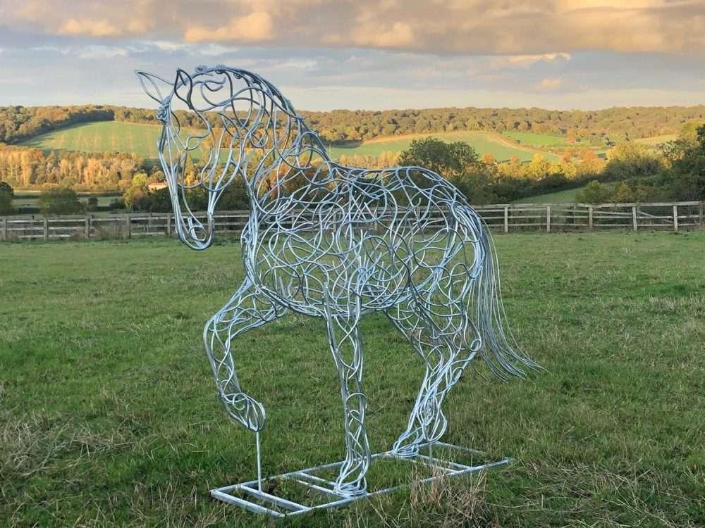 Dressage Horse Sculpture In Grass