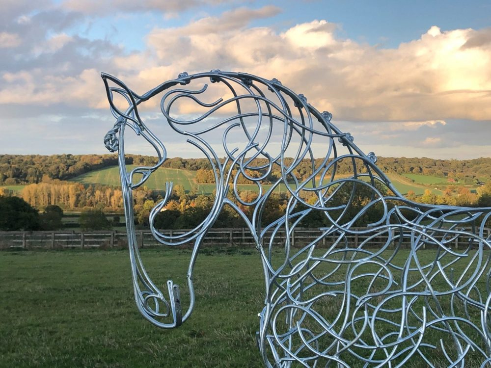 Silver Dressage Horse Sculpture