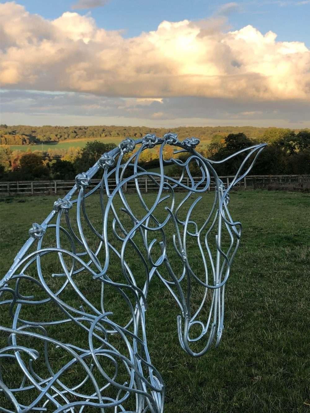 Dressage Horse Sculpture At Dusk