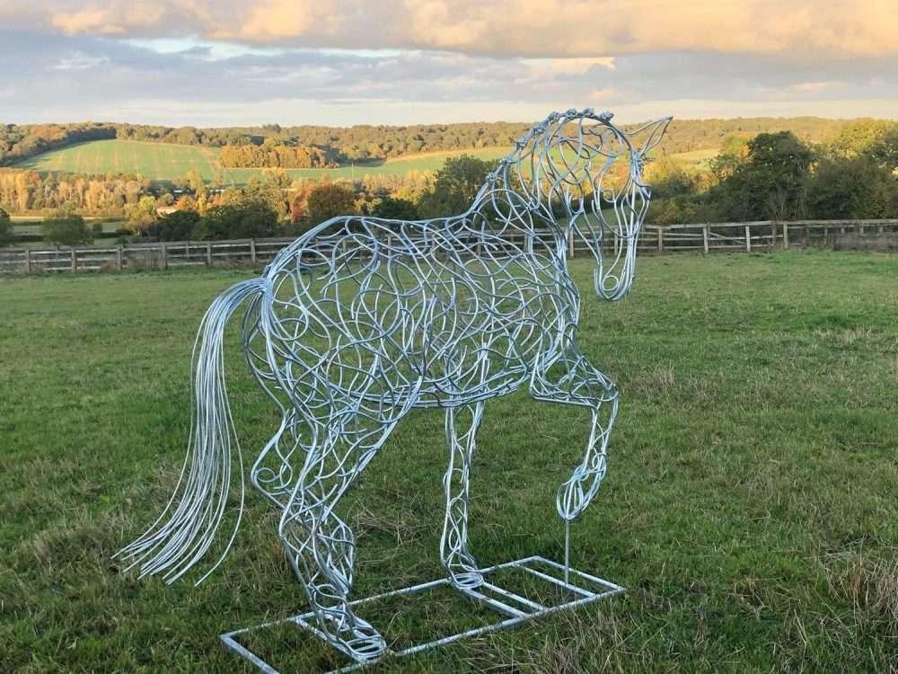 Dressage Horse Sculpture In Field