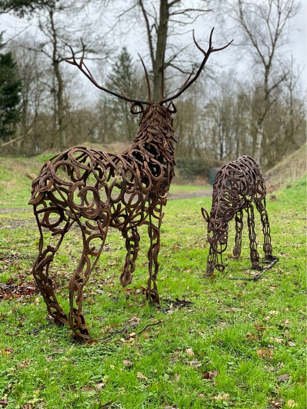Stag and Doe Sculpture