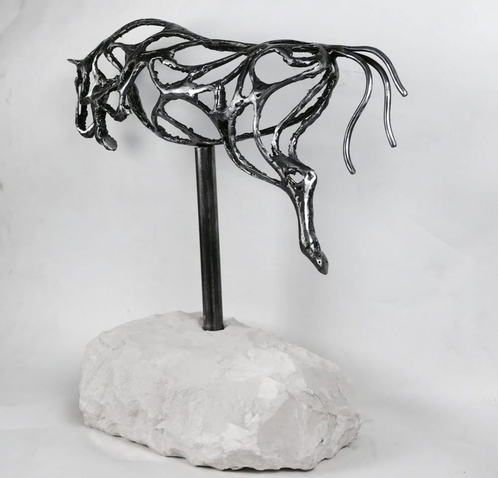 Silver Abstract Jumping Horse Sculpture