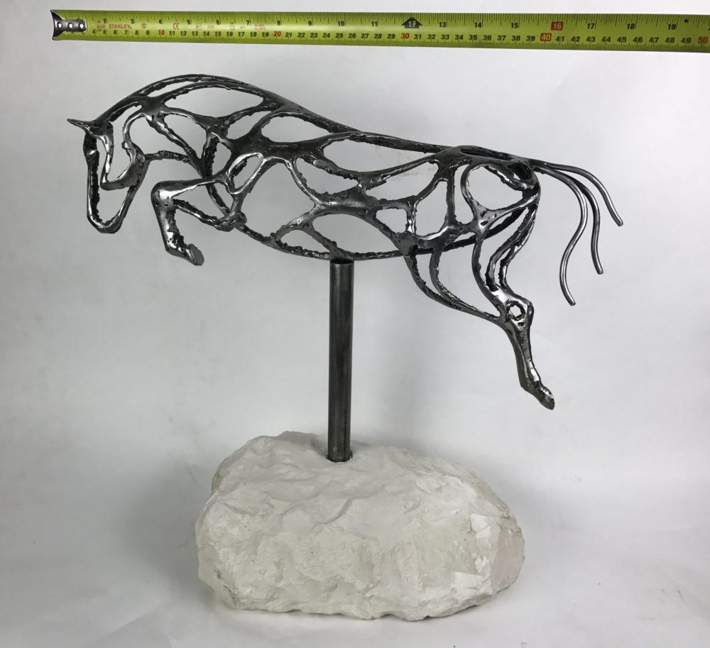Abstract Jumping Horse Sculpture With Tape Measure