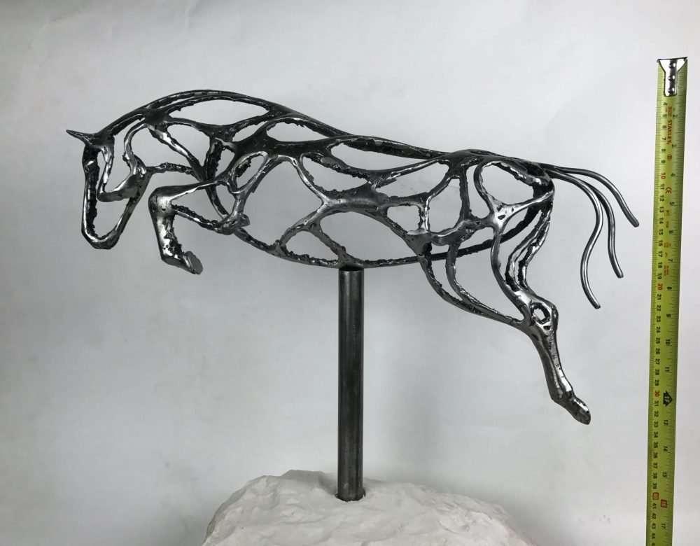 Abstract Jumping Horse Sculpture