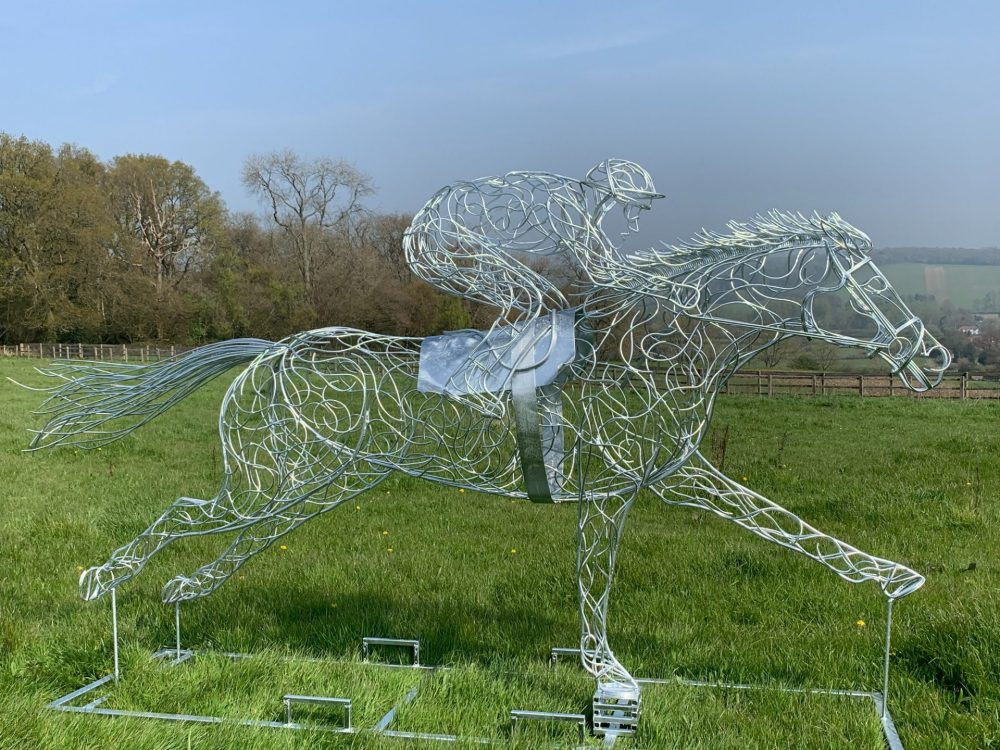 Galvanised Silver At Full Stretch Horse Sculpture