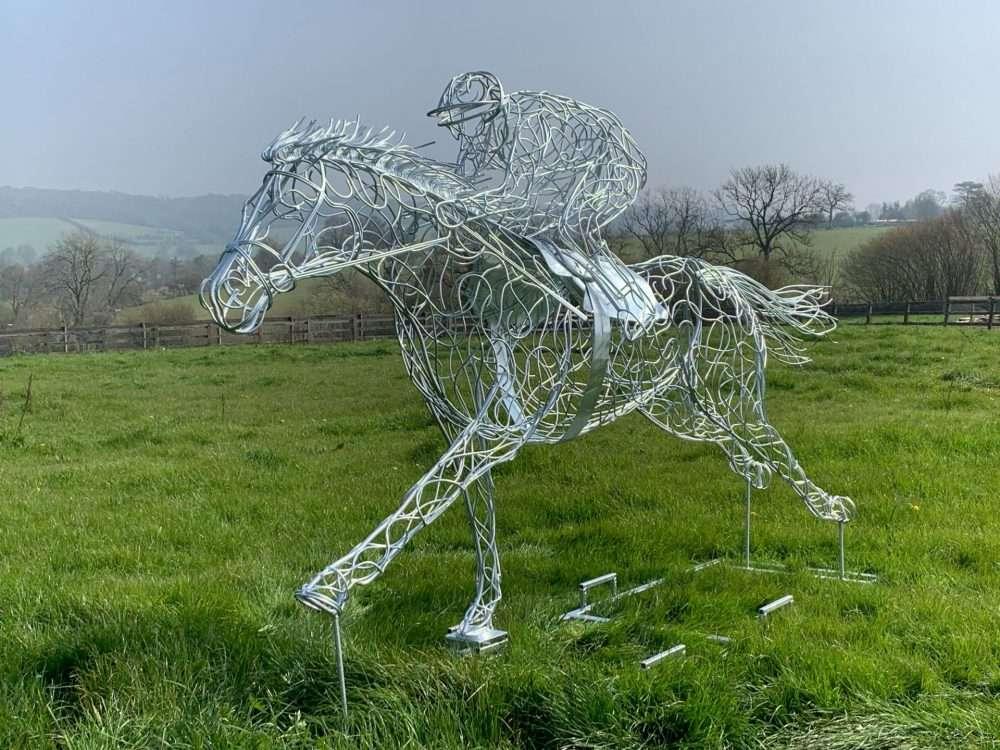 At Full Stretch Horse Sculpture Silver