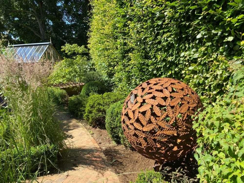 Rustic Beech Leaf Sphere Sculpture